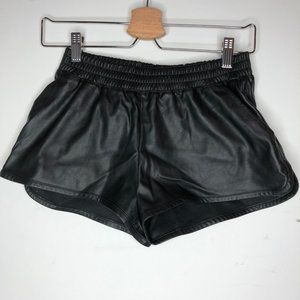 Pleather sport style shorts